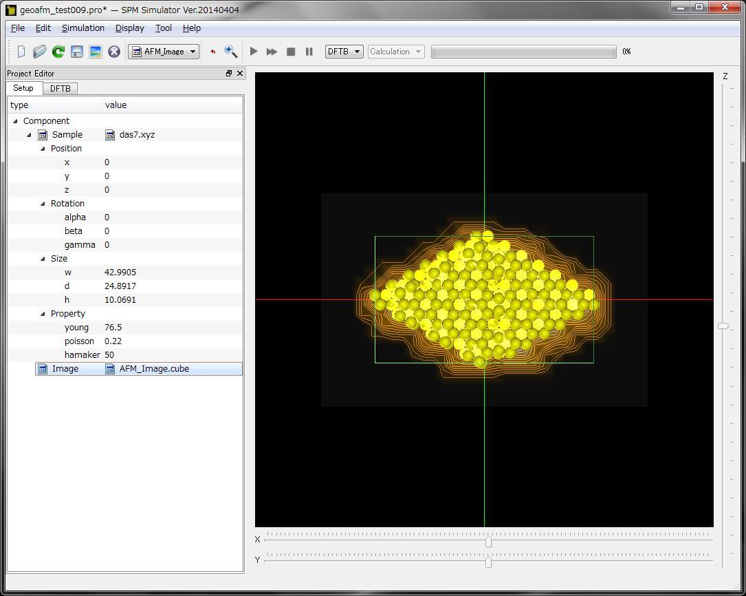 AFM画像と、分子構造から得られた試料画像データを、重ねて表示したもの