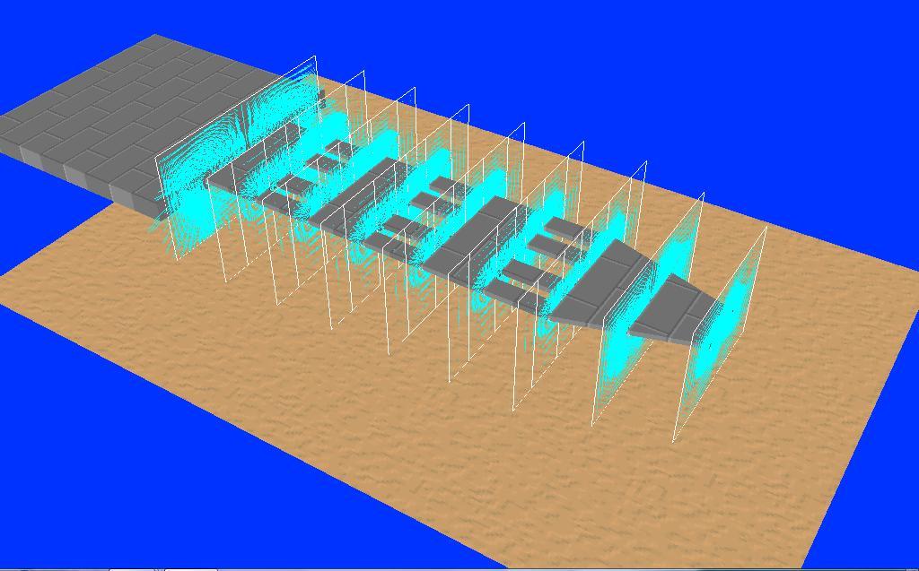 計算過程において表示される流体の速度ベクトル
